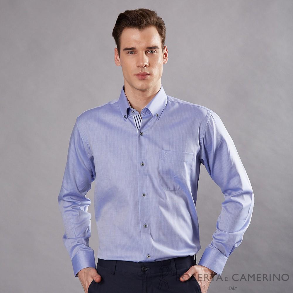 ROBERTA諾貝達 進口素材 台灣製 都會休閒 純棉條紋長袖襯衫 藍色