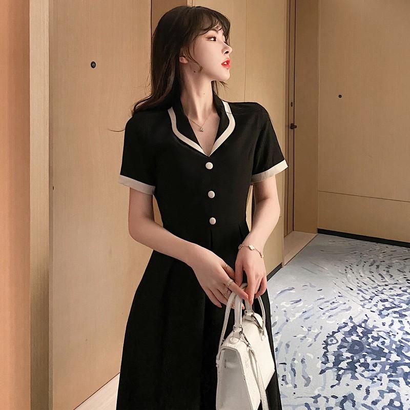 V領短袖設計領法式經典洋裝 小黑裙 M-4XL