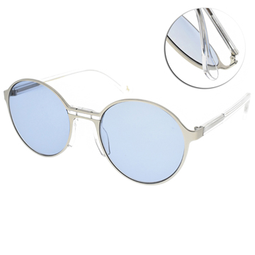 CARIN 太陽眼鏡 復古嬉皮圓框款 (霧銀-透明-藍鏡片) #LOHAN C1