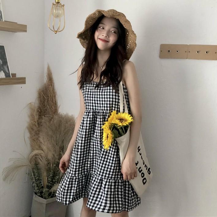 學院風 短版格子洋裝 女生洋裝 連身短裙 小可愛裙 娃娃裙 小可愛洋裝 小可愛格子學院風娃娃款