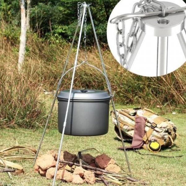 三腳架不銹鋼燒烤架帶烤網野營聚餐BBQ篝火吊鍋