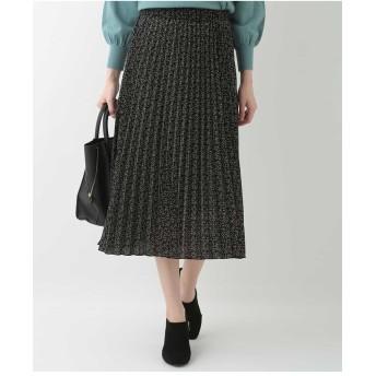 OFUON フラワープリントプリーツスカート その他 スカート,ブラック