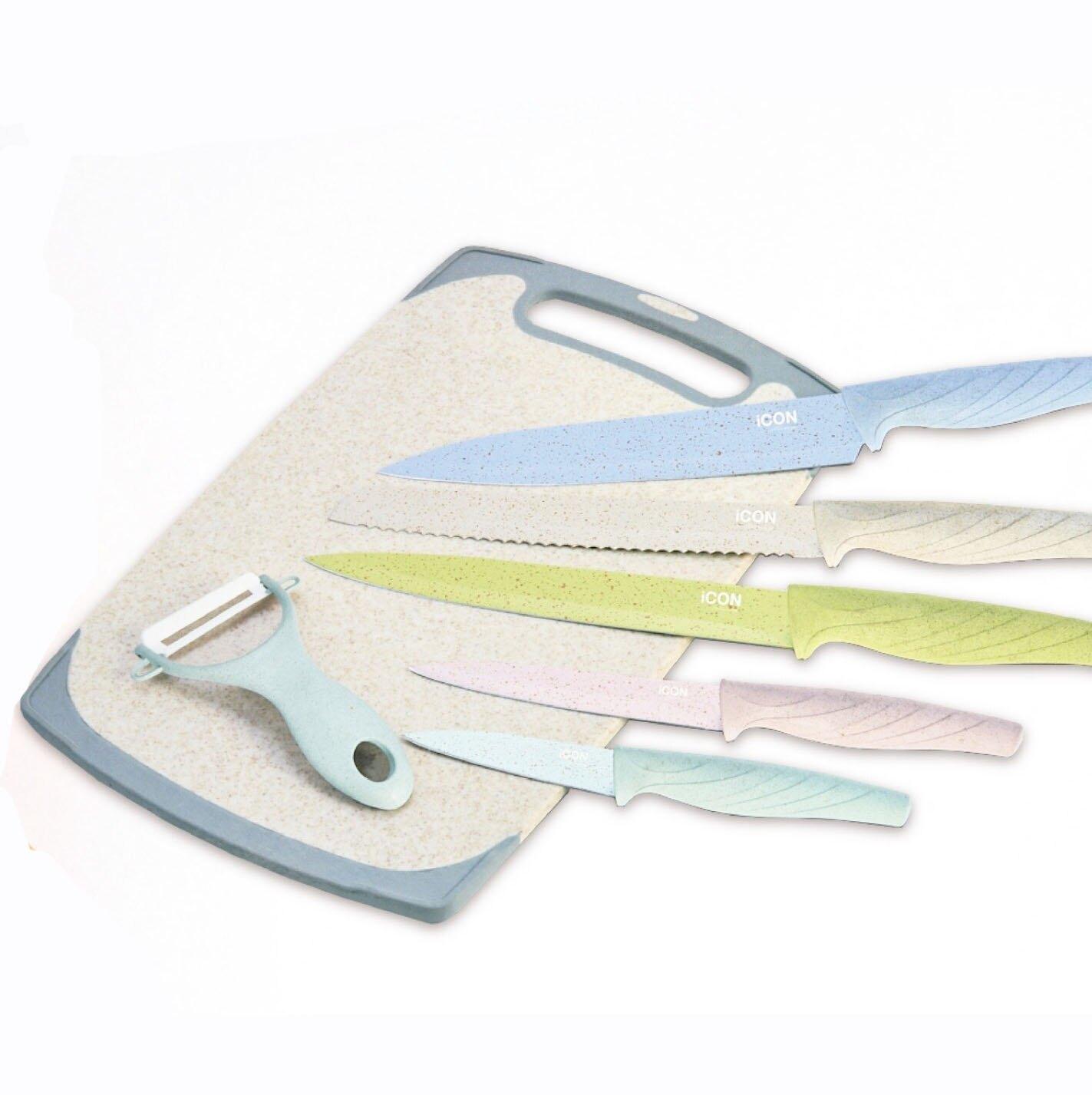 澳洲ICON 馬卡龍不沾刀具砧板7件組 水果刀 削皮刀 不沾刀具【喬森居家】