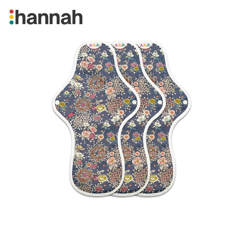 【韓國 hannahpad】防漏量多大型三片組33cm × 3片_有機純棉布衛生棉_顏色隨機出貨