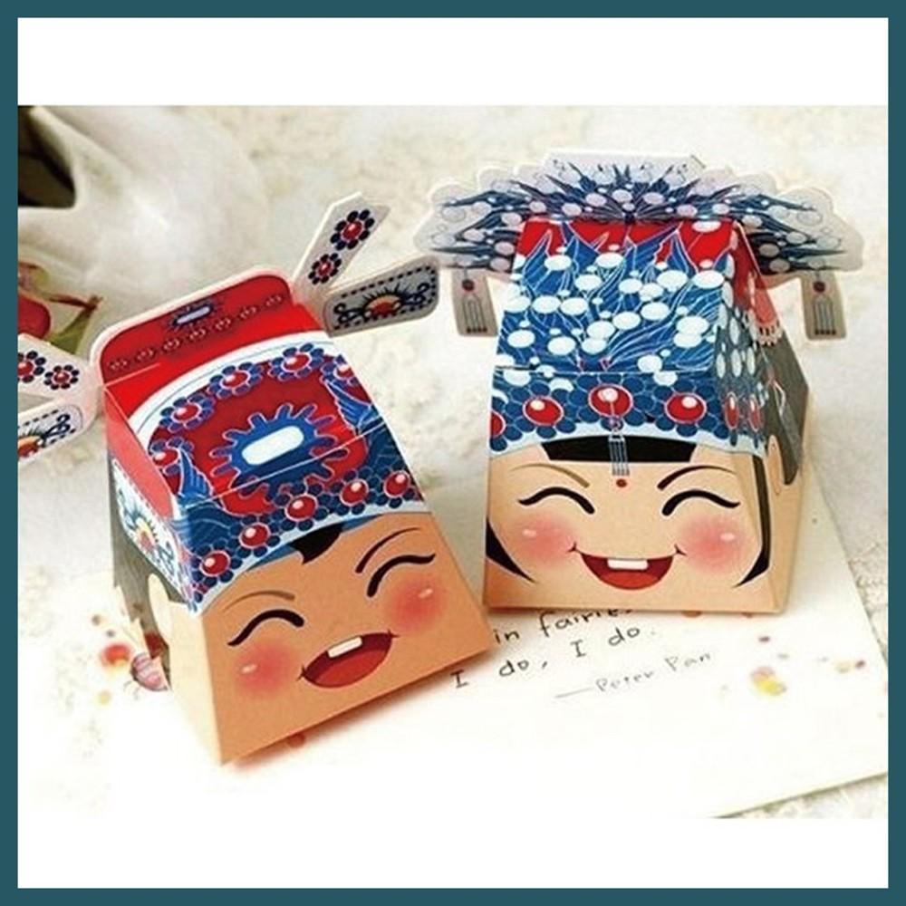 現貨相公娘子喜糖盒(1對) 中國風 復古風 中國娃娃 二進小禮 桌上禮 婚禮小物氣球快易送