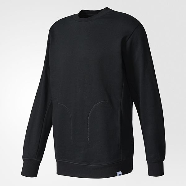 Adidas Originals XBYO Crew 男裝 上衣 長袖 大學T 棉質 口袋 黑 【運動世界】 BQ3082