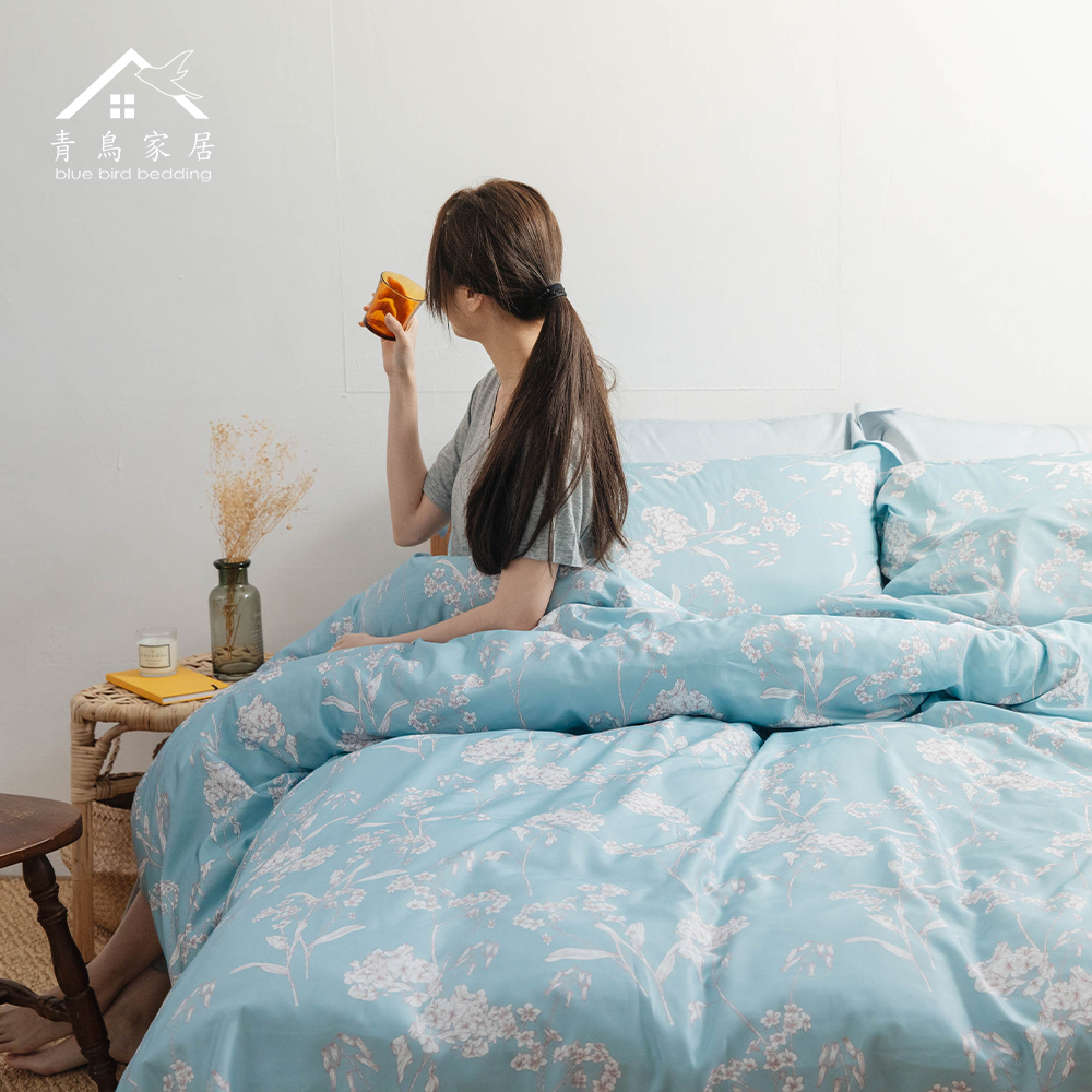 【青鳥家居】吸濕排汗加大天絲四件式床包被套組-寧靜月葉