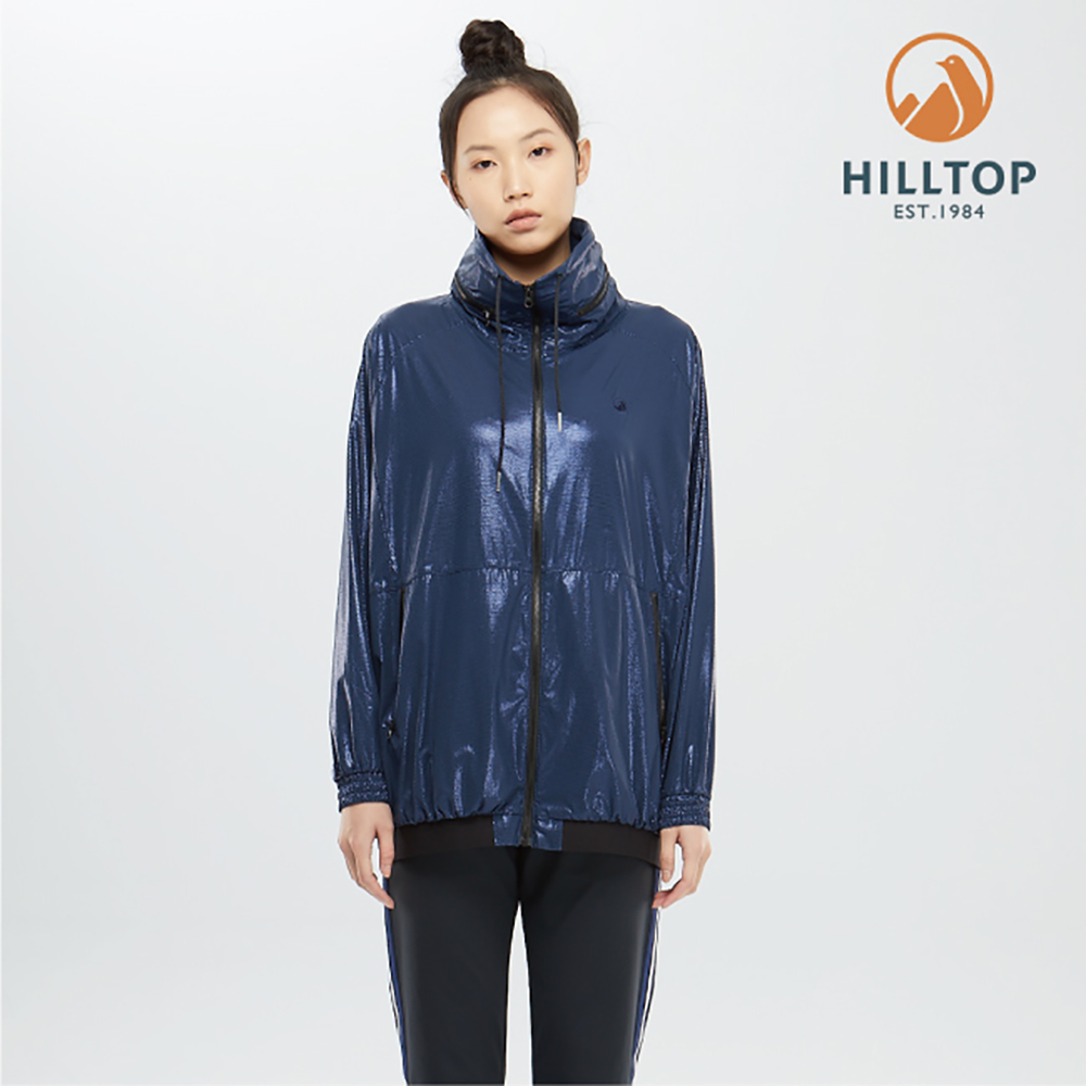 【hilltop山頂鳥】女款超潑水輕量外套S02FD4高貴藍印花