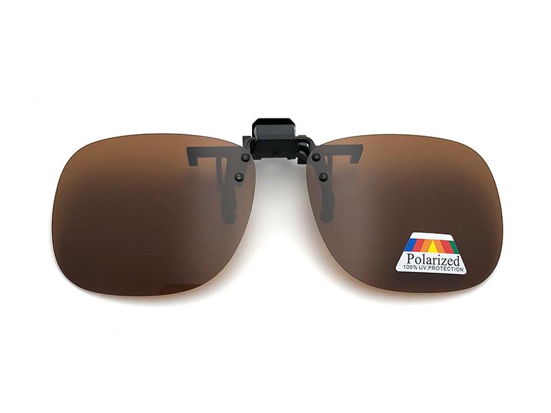 向日葵眼鏡 偏光夾片 防眩光 近視族專用 大版無框 茶色 1002-1