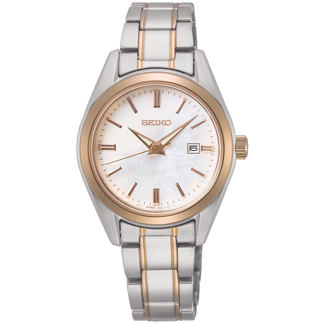 SEIKO 精工 CS系列貝殼面大三針時尚腕錶/玫瑰金x銀/28mm (6N22-00K0KS/SUR634P1)