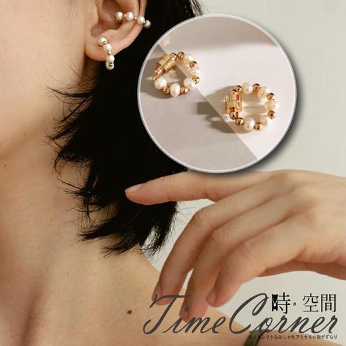 『時空間』時尚優雅兩色交織珍珠造型磁吸耳環 -單只