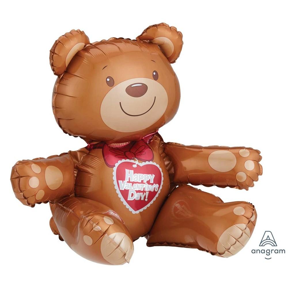 現貨19吋坐姿情人節小熊 造型鋁箔球 泰迪熊 鋁箔氣球 派對 情人節 七夕氣球快易送