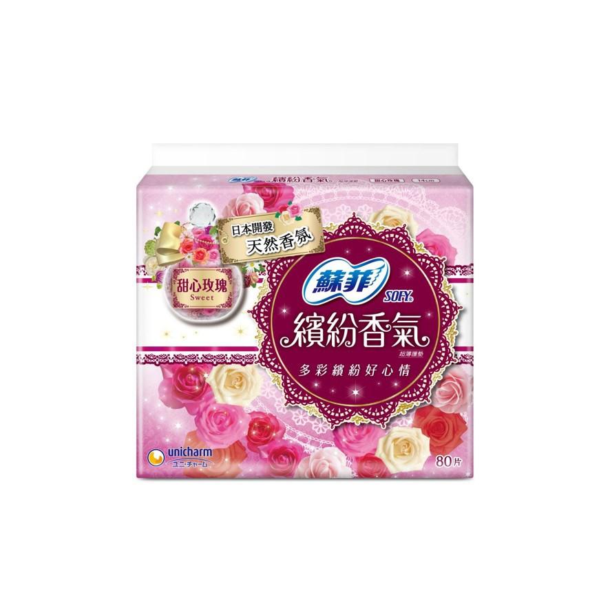 蘇菲繽紛香氣甜心玫瑰護墊80片【康是美】