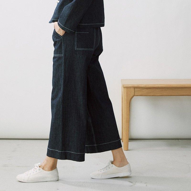 老式機織布 闊腿牛仔褲 寬褲 P200131