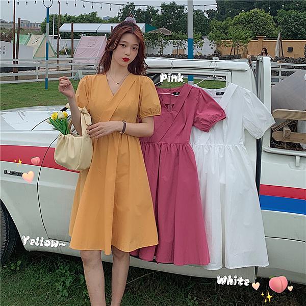 出清388 韓國風氣質設計感溫柔風交叉V領短袖洋裝