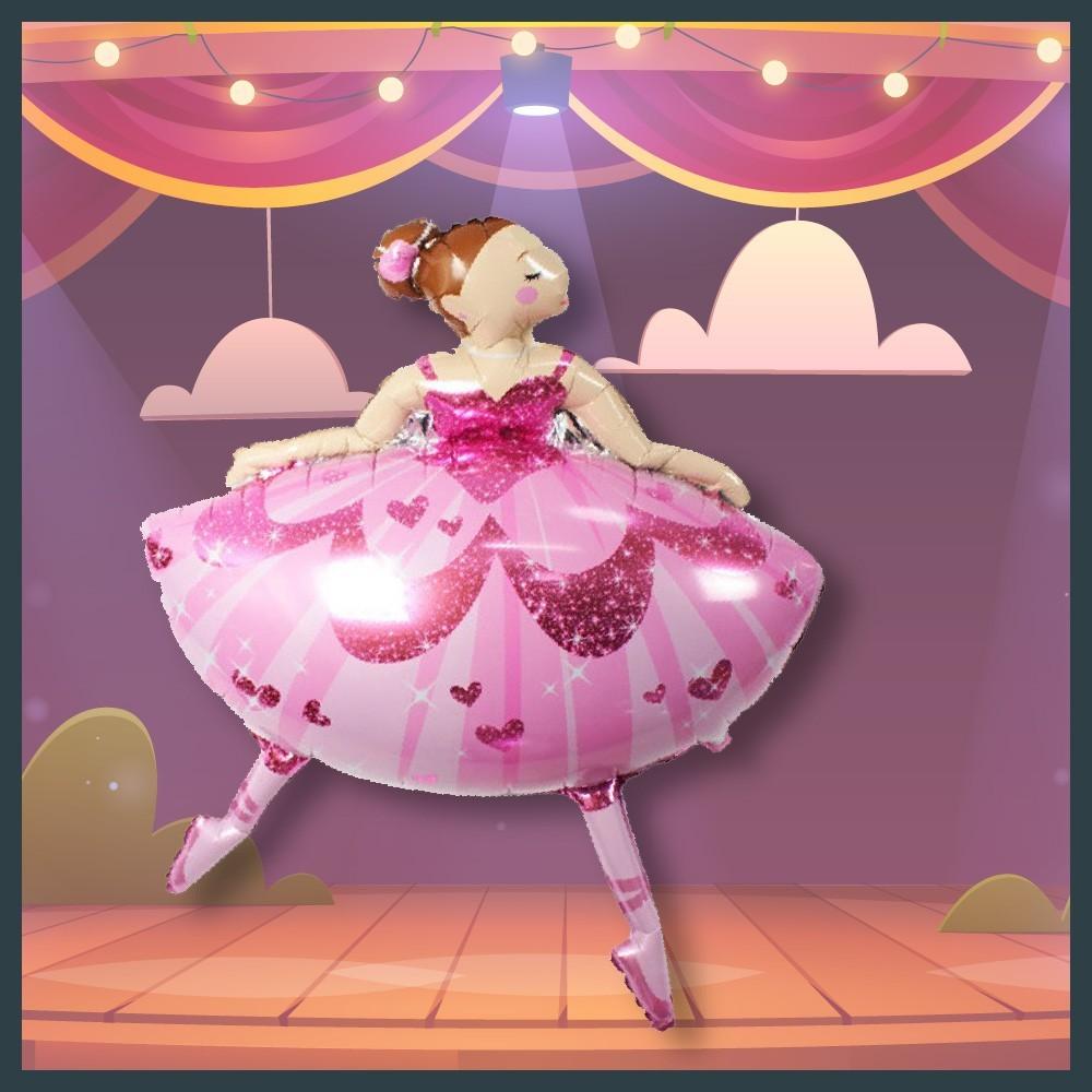 現貨c38吋芭蕾舞女孩 芭蕾舞 運動氣球 舞蹈 會場佈置 發表會 幼兒圓 跳舞氣球快易送