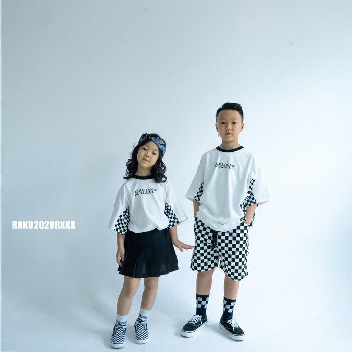 正韓/時尚方格系列潮T(現貨+預購) 女童男童  童裝 T恤 8尺寸可選  上衣