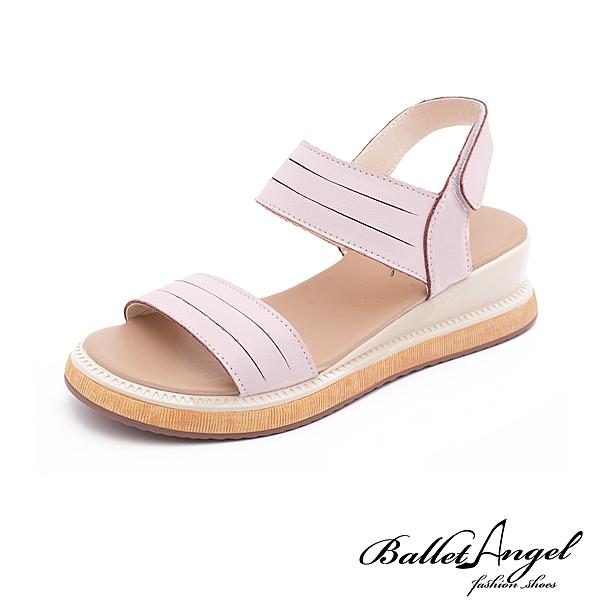 涼鞋 簡約寬帶真皮厚底涼鞋(粉)*BalletAngel【18-846pk】【現貨】