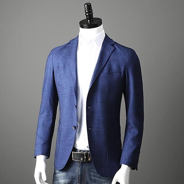 西裝外套 大氣平駁領 秋款 外貿男裝剪標尾貨商務休閒修身西服外套單西西裝 寶貝計畫