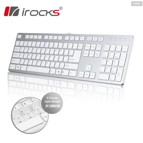 irocks K01巧克力超薄鏡面有線鍵盤_銀白色 電競鍵盤...