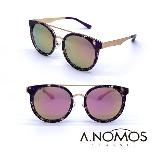 A.NOMOS 70年代龐克夢 時尚微貓眼偏光太陽眼鏡 6228 紫豹框粉水銀片