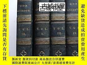 二手書博民逛書店歷史名著《唐吉訶德,作者的生活罕見》4卷,刻版畫插圖,1800年