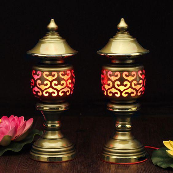 財神燈佛燈供燈蓮花燈宮燈神社燈長明燈佛供燈佛教用品LED供燈