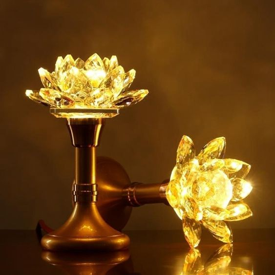 佛具水晶蓮花燈佛供燈LED家用佛燈蓮花燈佛前供燈觀音一對