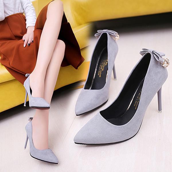 韓版高跟鞋春秋季新款絨面女黑色單鞋細跟尖頭水鉆婚鞋工作女鞋 西城故事