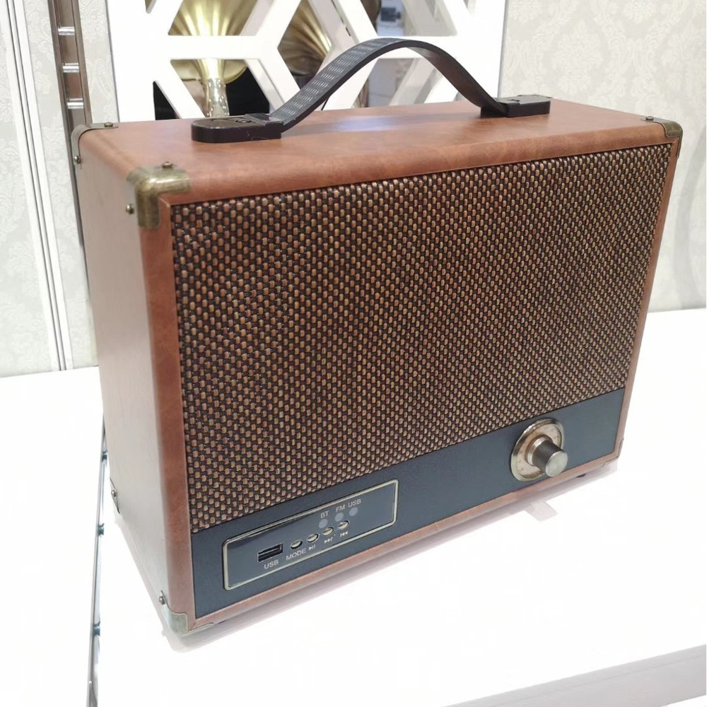 復古風造型收音機手提音響藍牙喇叭 - 復古音響大 棕色 30*19*10 公分
