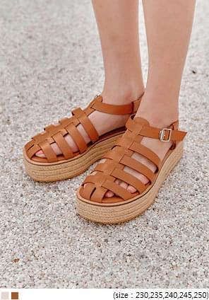 韓國空運 - 編織條帶造型厚底涼鞋