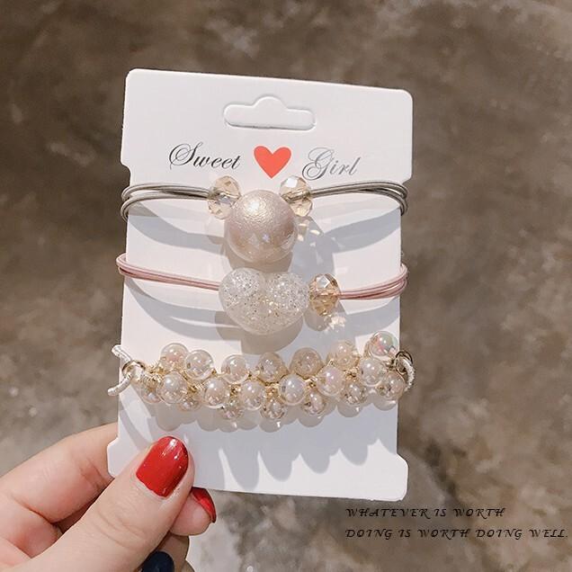 韓國ins頭繩手鍊兩用頭飾韓版可愛髮圈皮筋簡約珍珠髮繩 cntop