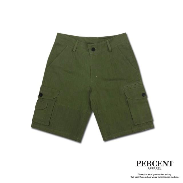 PERCENT% WS6005工作短褲 綠色 藤原本舖 短褲 休閒短褲 斜紋布 工裝短褲 多口袋短褲 機能短褲