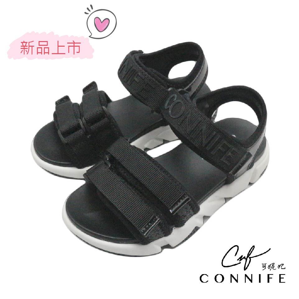 【CONNIFE可妮妃】個性字母厚底休閒涼鞋-黑