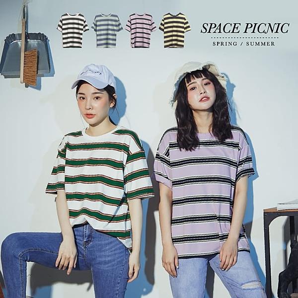 上衣 Space Picnic|粗細橫條紋短袖上衣(現貨)【C20053023】