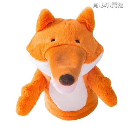 毛絨烏鴉狐貍手偶娃娃玩偶嘴巴能動動物手套幼兒園錶演安撫玩具  育心小館