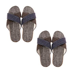 (組)居家交叉輕便拖鞋-藍/咖M x2