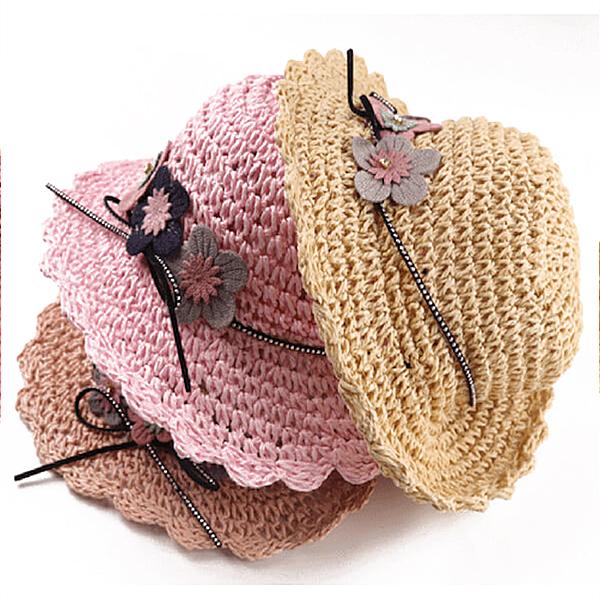 草帽 粉色小花 遮陽帽 童帽 漁夫帽 夏日度假 透氣 寶寶帽 兒童草帽 DL12105