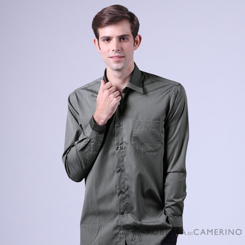 ROBERTA諾貝達 進口素材 台灣製 純棉紳士風範條紋商務長袖襯衫 鐵灰