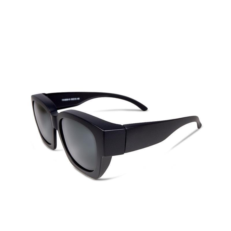 晨光淺焙│全罩式│外掛式│純黑色方框包覆式偏光太陽眼鏡│UV400墨鏡 藍灰色豹紋