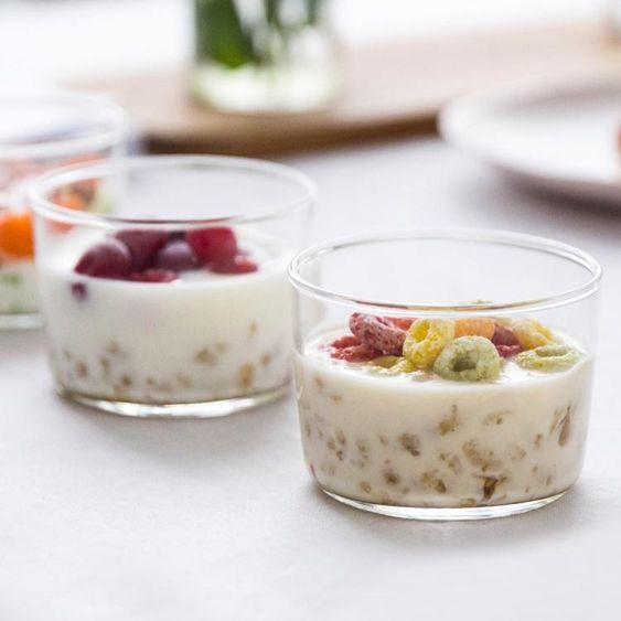 日式簡約布丁杯牛奶杯耐高溫杯子透明優酪乳杯創意玻璃杯