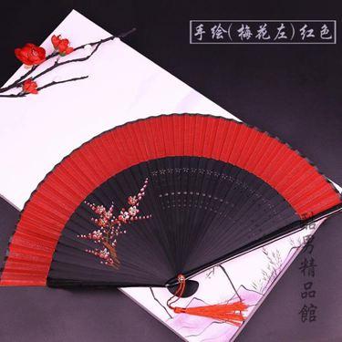 和扇堂 大紅色女式手繪扇子折扇中國風古風古典折疊扇跳舞蹈扇CY