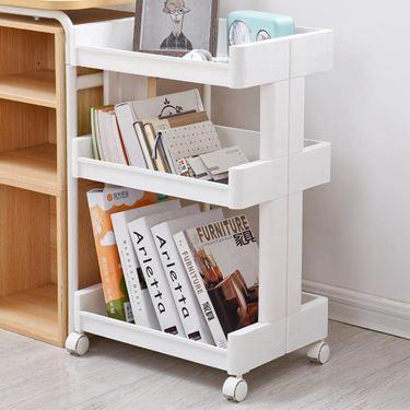 臥室可移動置物架帶輪落地多層書架雜物零食收納架子小推車儲物架