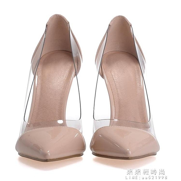 裸色新款歐美夏季透明尖頭高跟鞋淺口細跟鞋性感拼色單鞋婚鞋女鞋 果果輕時尚