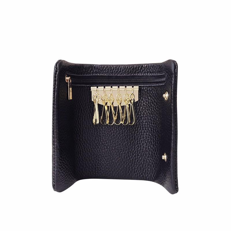 鑰匙包男 皮質迷你小巧鎖匙包扣多功能簡約柔軟皮質情侶汽車男女通用鑰匙包