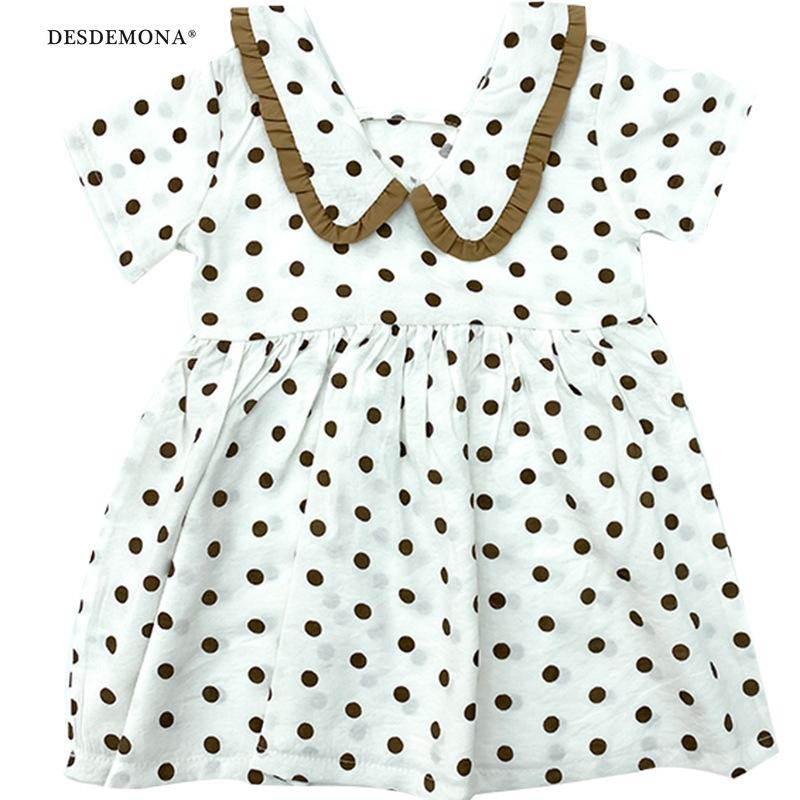 中小童 2020夏新款嬰童女寶卡哇伊卡其圓點連衣裙 A172