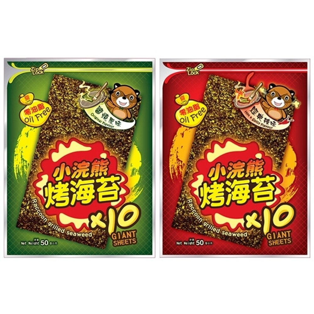 泰國 小浣熊 烤海苔(50g) 原味/麻辣 兩款可選【小三美日】團購/零嘴◢D820383