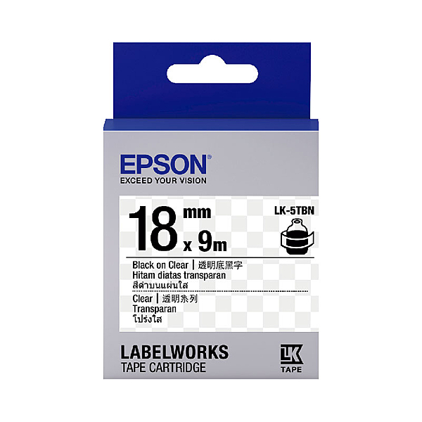 EPSON LK-5TBN C53S655408 透明系列透明底黑字標籤帶(寬度18mm)