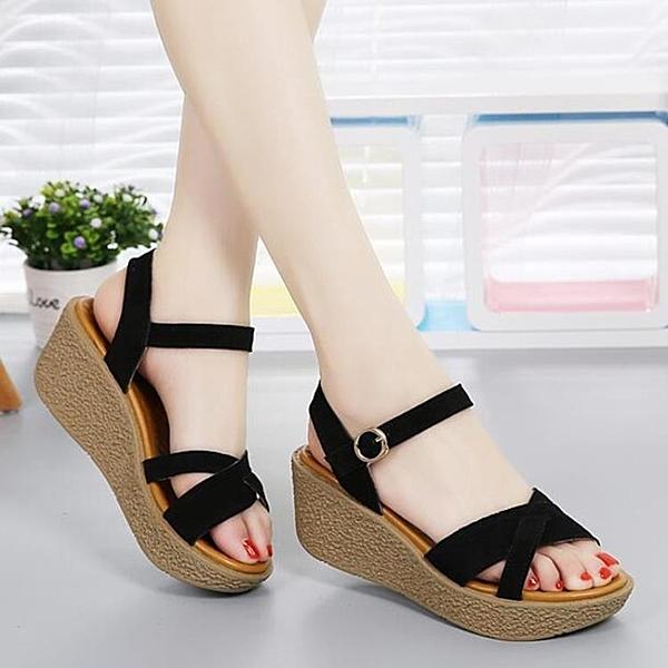 楔型涼鞋 羅馬涼鞋女夏季新款舒適百搭松糕鞋休閑粗跟厚底中跟涼鞋 限時優惠 快速出貨