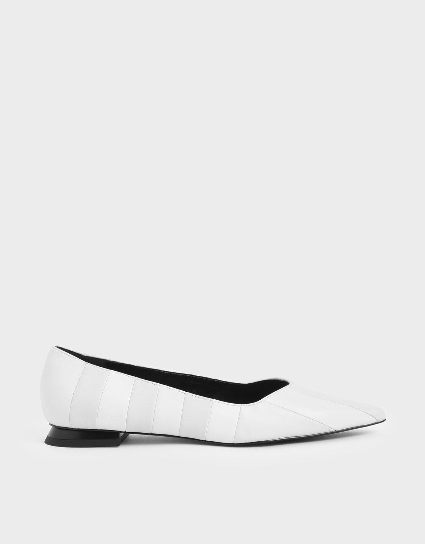 真皮條紋平底鞋
